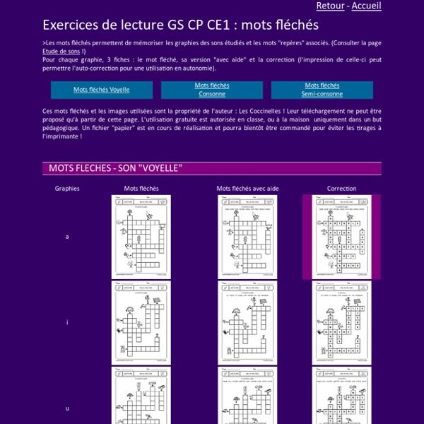 Mots fléchés en lecture GS CP CE1