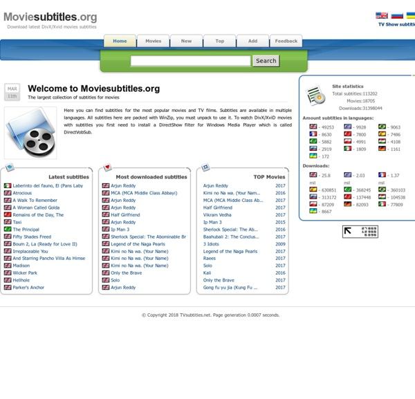 Moviesubtitles.org - Download latest DivX/Xvid movies subtitles