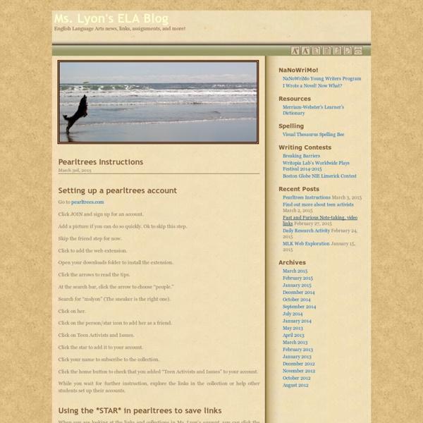 Ms. Lyon's ELA Blog