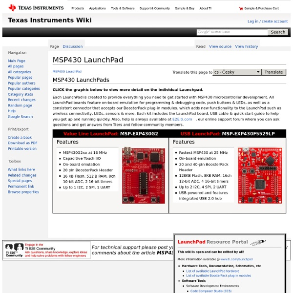 MSP430 LaunchPad (MSP-EXP430G2) | Pearltrees