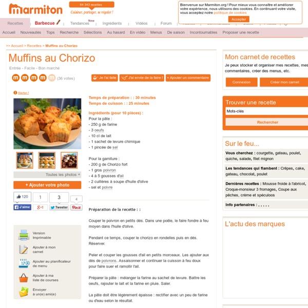 Muffins au Chorizo : Recette de Muffins au Chorizo