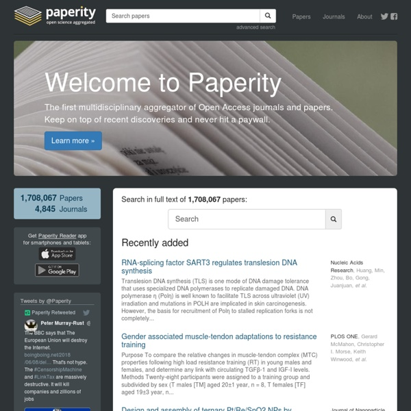 Paperity - Multidisciplinary aggregator of Open Access journals & papers
