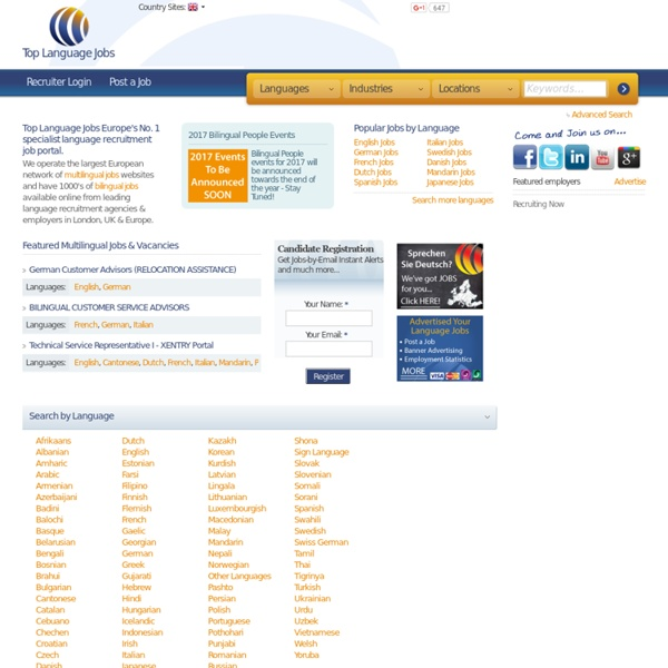 Top Language Jobs; Multilingual jobs & Bilingual Jobs in London & UK