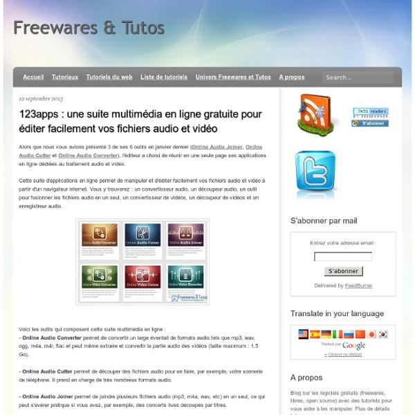 Une suite multimédia en ligne gratuite pour éditer facilement vos fichiers audio et vidéo