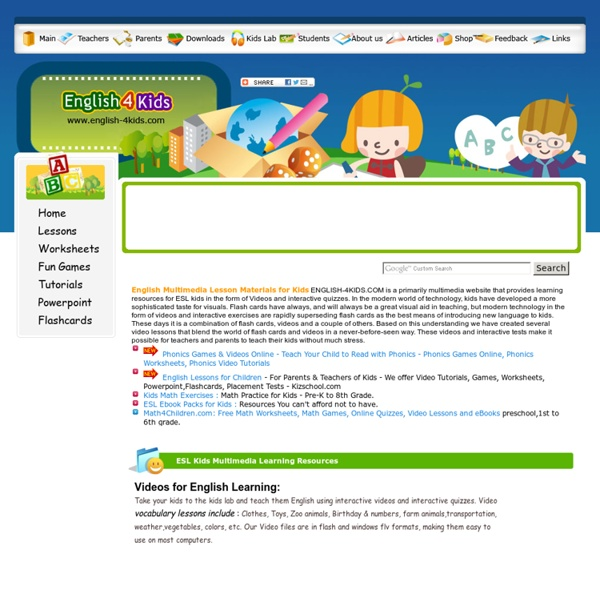 English Lessons for Kids, Multimedia Interactive Materials for Teaching Kids