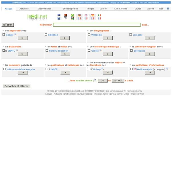 Rechercher sur internet avec lecdi.net, portail multimoteur de recherche documentaire