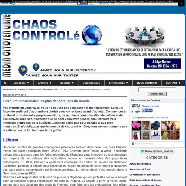 Les 10 multinationales les plus dangereuses dans le monde - Stratégie du chaos controlé