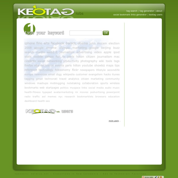 Keotag - tag search multiple engines, tag generator and social bookmark links generator