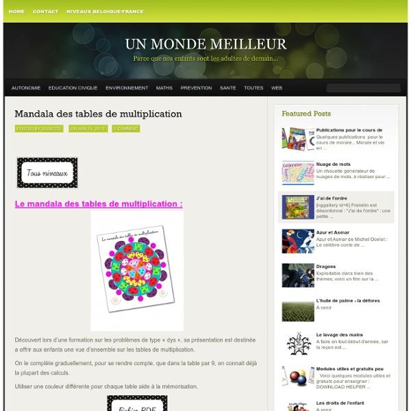 Un monde meilleur » Blog Archive Mandala des tables de multiplication » Un monde meilleur