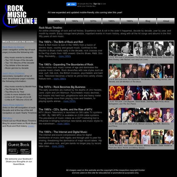 Rock music timeline - 50 years of rock & roll history with photos.