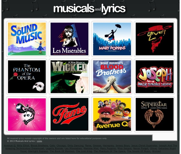 Musicals & Lyrics - Lyrics For The West End Musicals