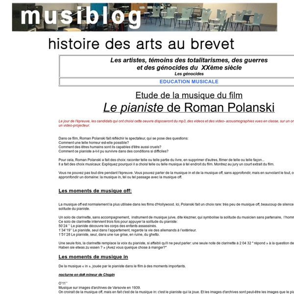 le pianiste film histoire des arts