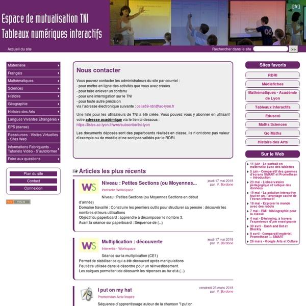 Espace de Mutualisation TNI - Tableaux Numériques Interactifs
