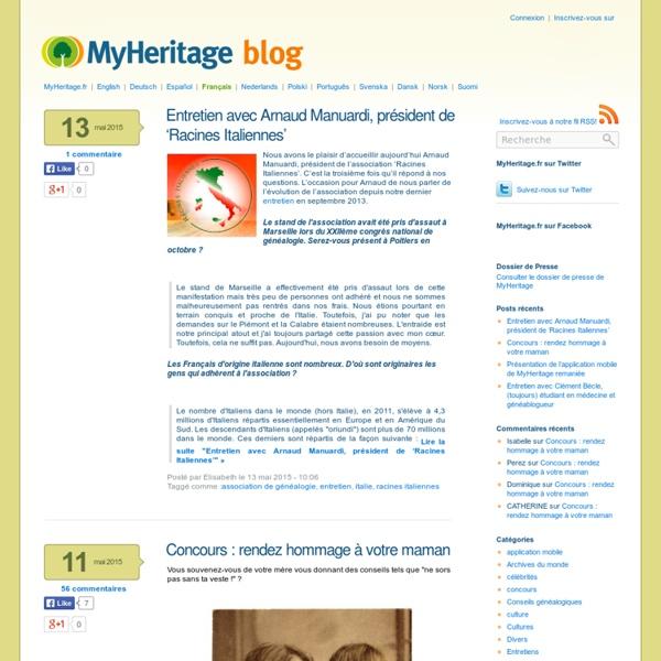 MyHeritage.fr - Blog francophone