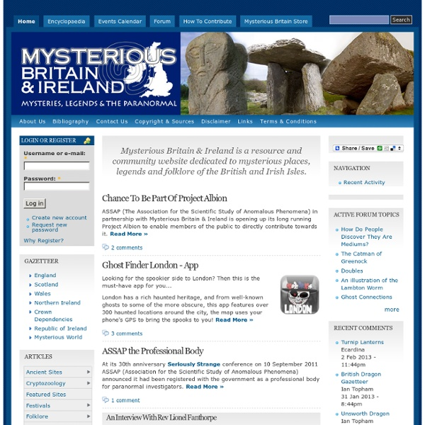 Mysteries, Legends & The Paranormal