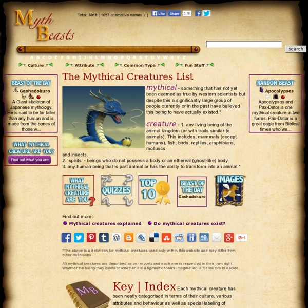 Mythical Creatures List, Mythical Creatures A-Z