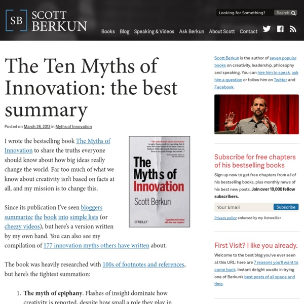 The Ten Myths of Innovation: the best summary