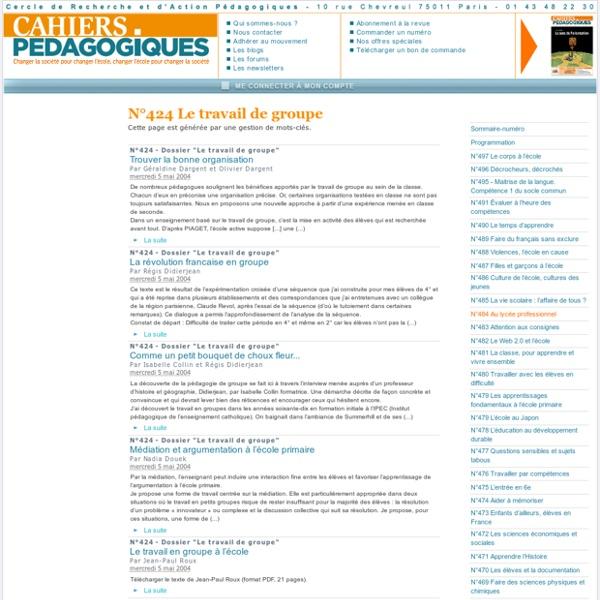 Cahiers Pédagogiques N°424 Le travail de groupe