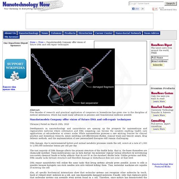 Repair DNA and Cells using Nanotech