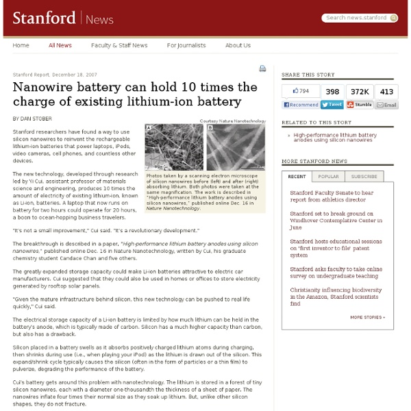 Nanowire battery can hold 10 times the charge of existing lithium-ion battery