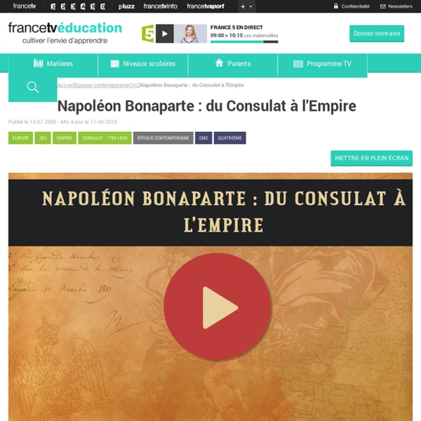 Napoléon Bonaparte : du Consulat à l'Empire