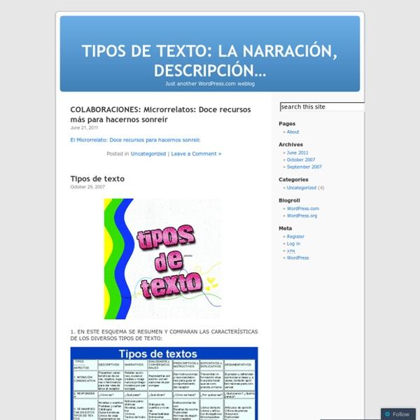 TIPOS DE TEXTO: LA NARRACIÓN, DESCRIPCIÓN...