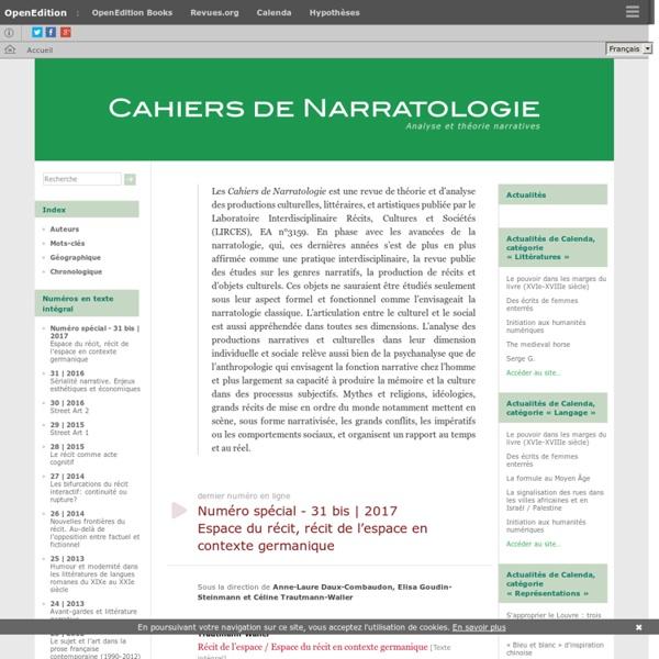 Cahiers de Narratologie - Analyse et théorie narratives