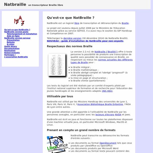 Site officiel de NAT, un transcripteur braille universel