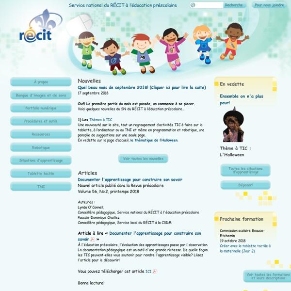 Service national du RÉCIT à l'éducation préscolaire