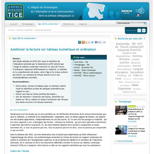 L'Agence nationale des Usages des TICE - Améliorer la lecture sur tableau numérique et ordinateur