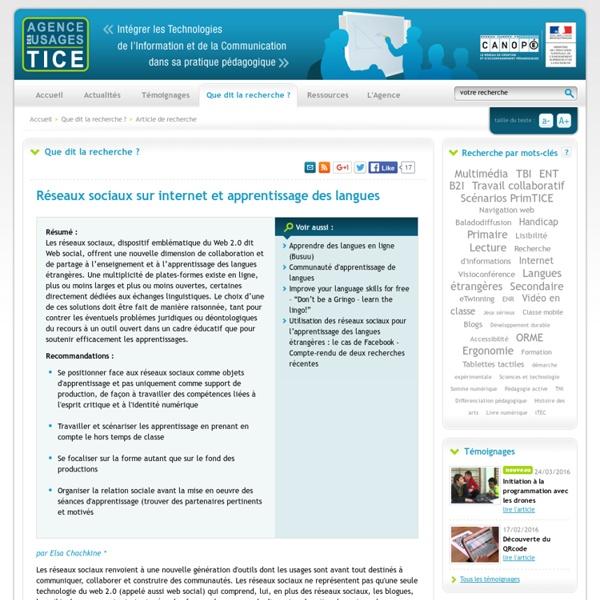 L'Agence nationale des Usages des TICE - Réseaux sociaux sur internet et apprentissage des langues