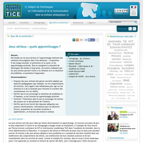 L'Agence nationale des Usages des TICE - Jeux sérieux : quels apprentissages?