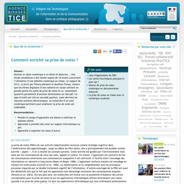 L'Agence nationale des Usages des TICE - Comment enrichir sa prise de notes ?