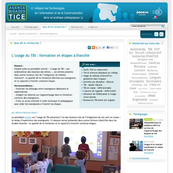 L'usage du TBI : formation et étapes à franchir