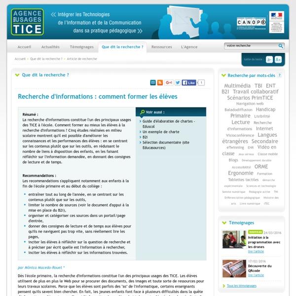 L'Agence nationale des Usages des TICE - Recherche d'informations : comment former les élèves