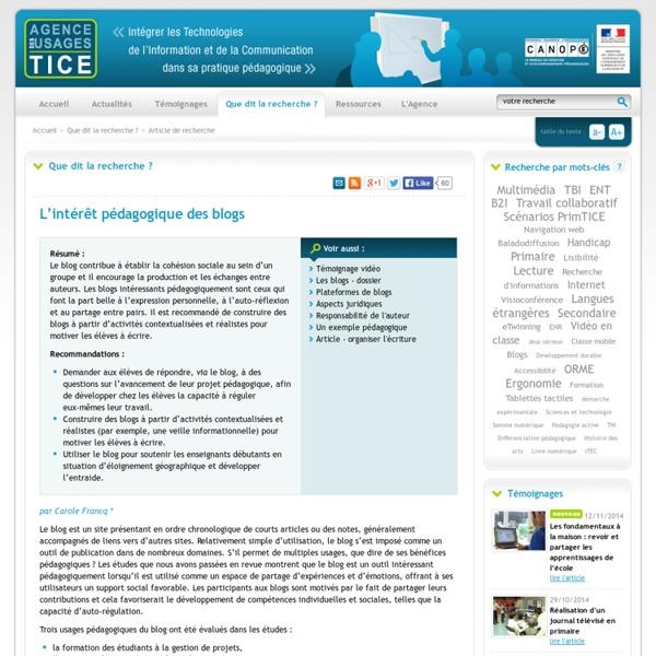 L'Agence nationale des Usages des TICE - L'intérêt pédagogique des blogs