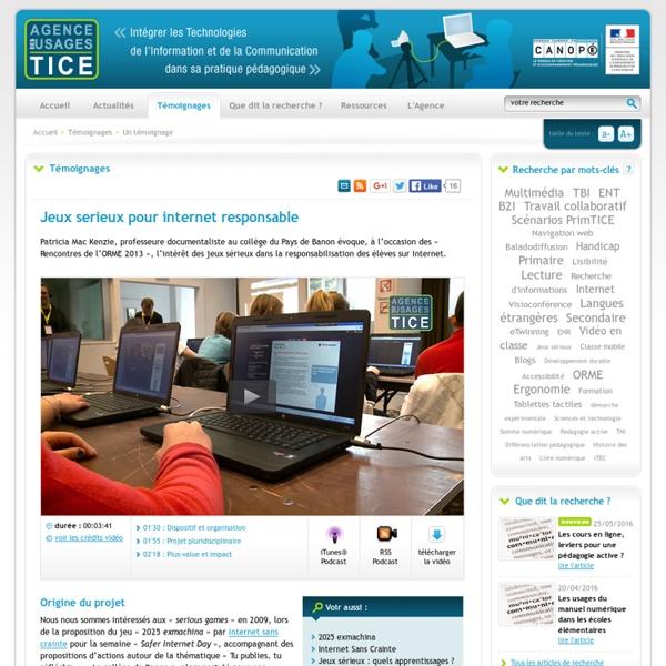 L'Agence nationale des Usages des TICE - Jeux serieux pour internet responsable