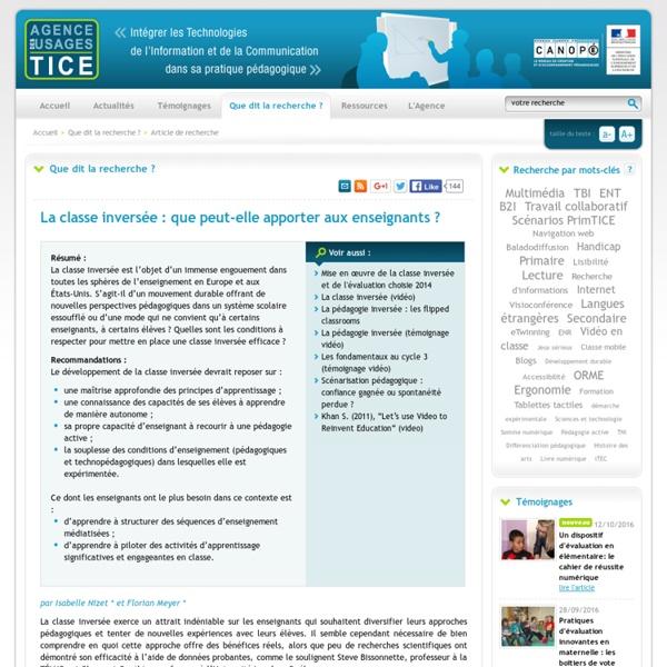 L'Agence nationale des Usages des TICE - La classe inversée : que peut-elle apporter aux enseignants ?