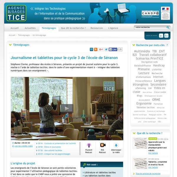 L'Agence nationale des Usages des TICE - Journalisme et tablettes pour le cycle 3 de l'école de Séranon