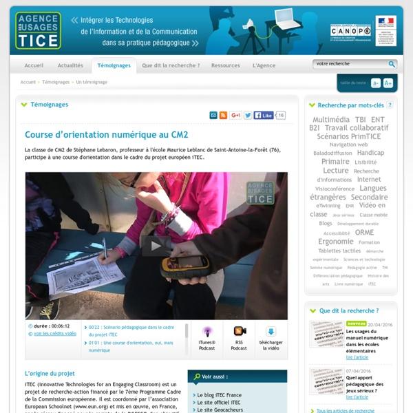 L'Agence nationale des Usages des TICE - Course d'orientation numérique au CM2