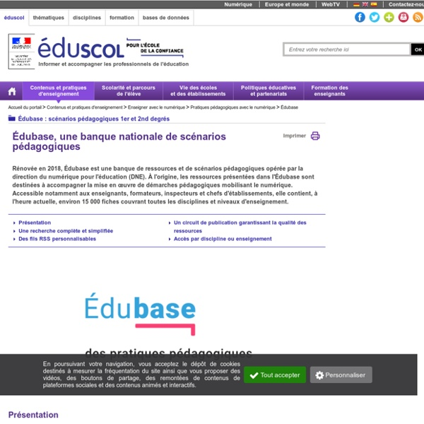 ÉDU'bases - ÉDU'base, une banque nationale de scénarios pédagogiques