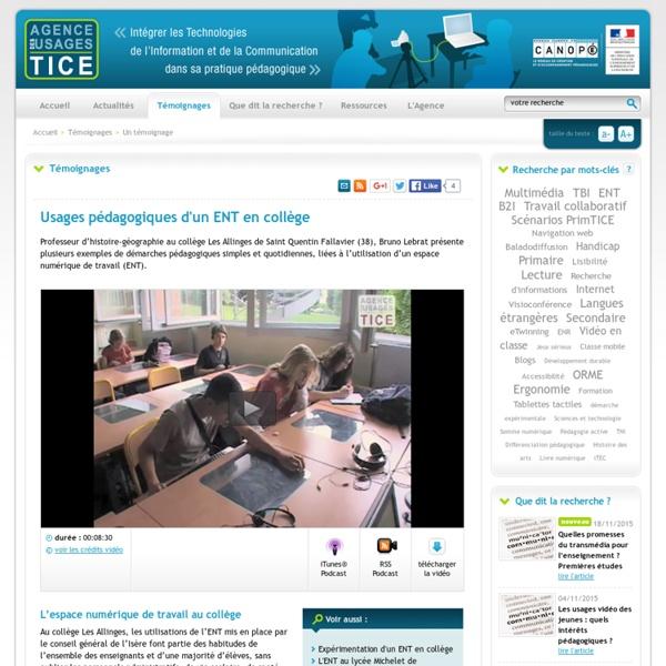 L'Agence nationale des Usages des TICE - Usages pédagogiques d'un ENT en collège