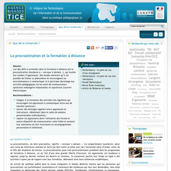 L'Agence nationale des Usages des TICE - La procrastination et la formation à distance