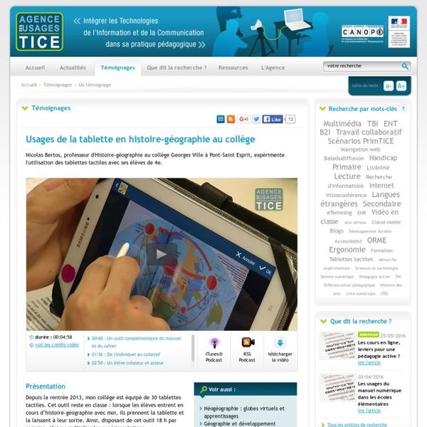 L'Agence nationale des Usages des TICE - Usages de la tablette en histoire-géographie au collège
