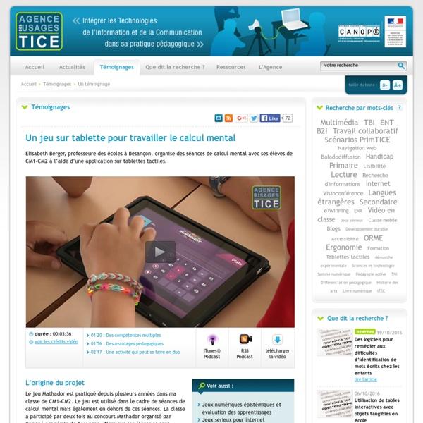 Un jeu sur tablette pour travailler le calcul mental