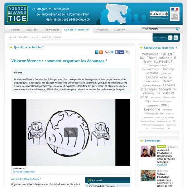 L'Agence nationale des Usages des TICE - Visioconférence : comment organiser les échanges ?