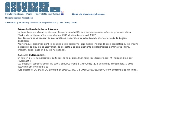 Base de données Léonore (Légion d'honneur) - Archives nationales de France