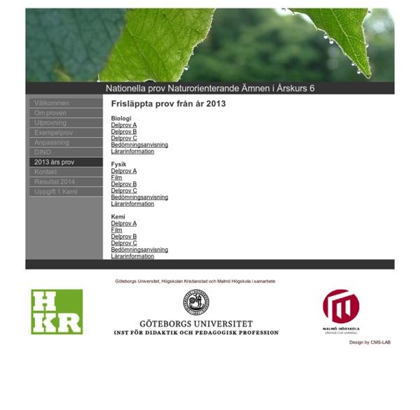 Nationella prov Naturorienterande Ämnen i Årskurs 6 - 2013 års prov