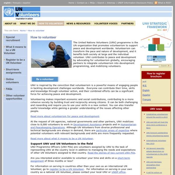 United Nations Volunteers:How to volunteer