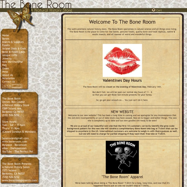 Welcome to The Bone Room Web Site